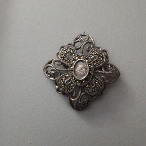 Vintage Judith Jack Sterling Marcasite Pin REPAIR